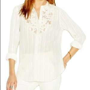 Free People White Lace Collared Button Down Size S